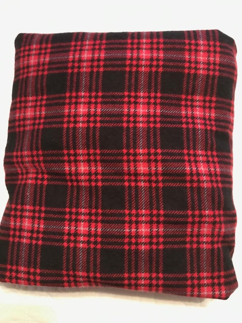Baby Crib Sheet or Toddler Bed Sheet Black and Red Plaid Flannel