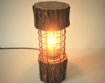 Rustic Lamp Log Light Log Lamp Desk Lamp Industrial Lamp Cage Lamp