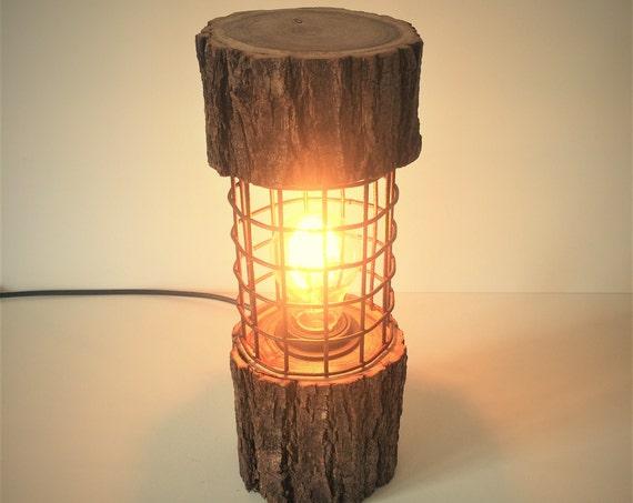 Rustic Lamp Log Light Log Lamp Desk Lamp Industrial Lamp Cage Lamp