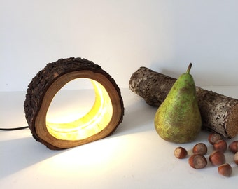 Small Rustic Led Log Lamp