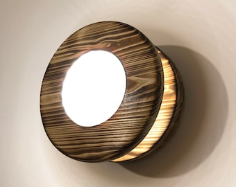 Burnt Wood Round Led Wall Light