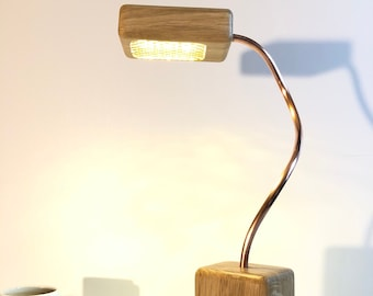 wooden lamp, oak table lamp, modern desk lamp, oak lamp, oak reading lamp, oak bedside lamp, wood and copper, led reading lamp, side lamp,