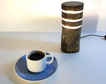 rustic lamp, round log lamp, small table lamp, tree lamp, branch lamp, log light, led log light, handmade lamp, log lighting, natural wood,