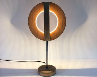 Solid Wood Circular Led Table Lamp