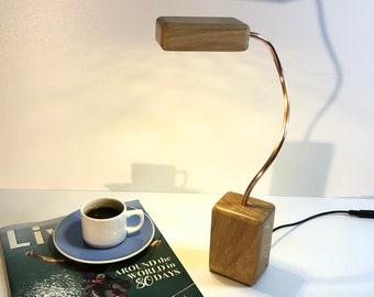 oak table lamp, oak lamp, copper lamp, wood and copper, contemporary lamp, oak and copper, reading lamp, table lamp, bedside lamp, led lamp