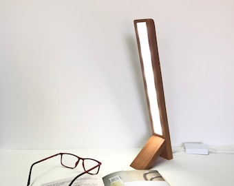 Angled Solid Wood Led Table Lamp