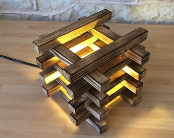 Burnt Wood Stack Table Lamp