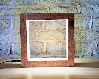 Solid Wood Square Lamp with Leds