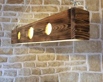 long ceiling light, light pendant, wooden light fixture, wood light pendant, dining table light, bar light, unusual light, modern light, led