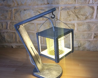 Grey Distressed Unusual Table Lamp
