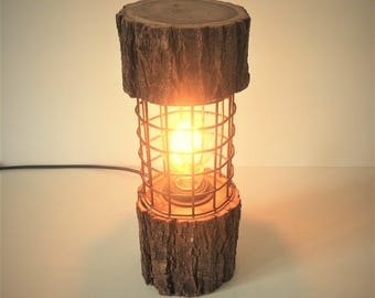 Rusty Metal Log Lamp