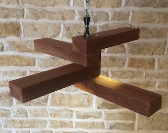 Wooden 4 Arm Led Chandelier