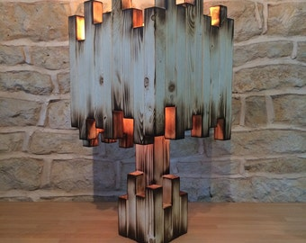Unusual Burnt Wood Lamp