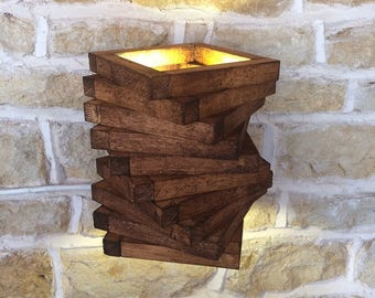 Wall Light Wall Sconce Rustic Wood Oak Abstract Stylish Lighting Wall Lamp Accent Lighting