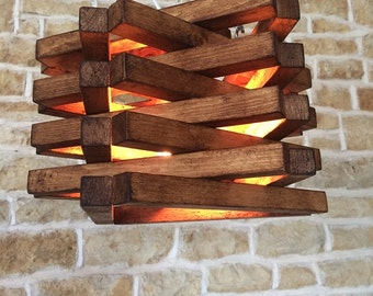 Rustic Wood 'Star' Light Pendant Fixture