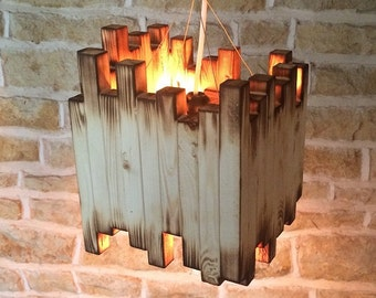 Burnt Wood Hanging Light Pendant Fixture