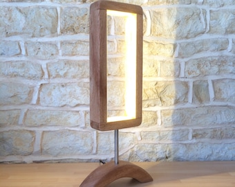 Hand Crafted Designer Table Lamp Wooden Desk Light Unusual Modern Minimalist Open Design Abstract Led Light