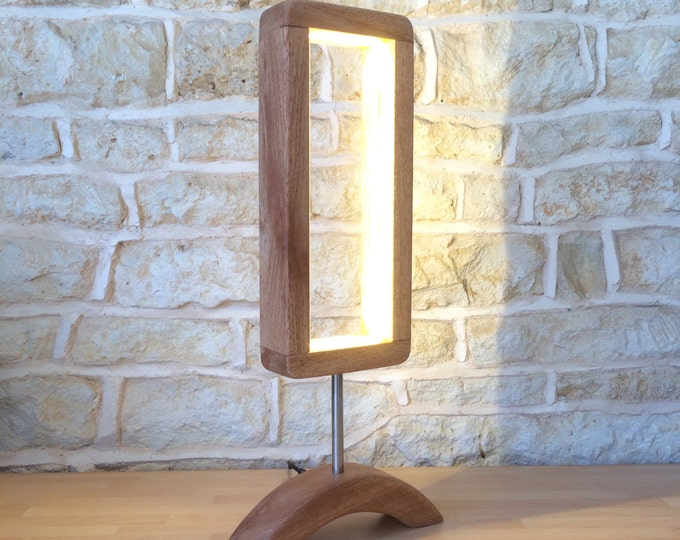 Featured listing image: Hand Crafted Designer Table Lamp Wooden Desk Light Unusual Modern Minimalist Open Design Abstract Led Light