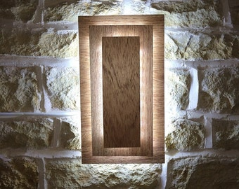 Solid Wood Rectangular Led Wall Light