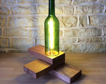 Wine Bottle and Solid Wood Table Lamp