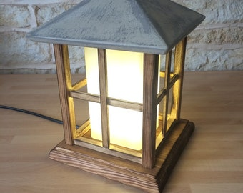 Handmade Wooden Lantern Table Lamp Decorative Light Handmade House Cabin Shabby Chic Cottage Home Decor