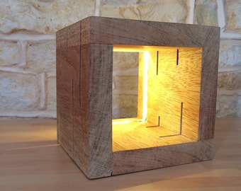 Chunky Wood Led Cube Lamp