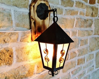 Hanging Wall Lantern With Wooden Base