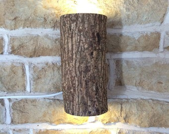 Real Wooden Log Up/Down Wall Light Sconce