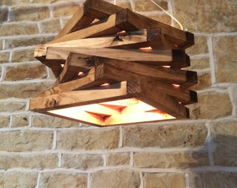 rustic wood light, rustic ceiling light, wood light fixture, rustic light pendant, spiral lamp shade, rustic lighting,