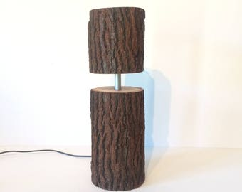 Rustic Log Table Lamp with Leds