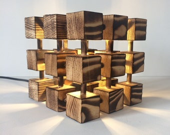 Unusual Molecular Wooden Cube Lamp
