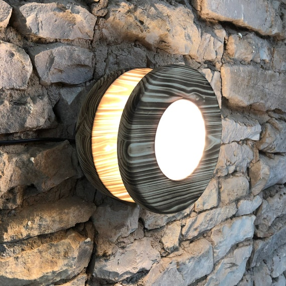 round wall light, wood light, wooden light, wooden sconce, burnt wood, burnt wood light, led sconce, contemporary sconce, rustic wood,