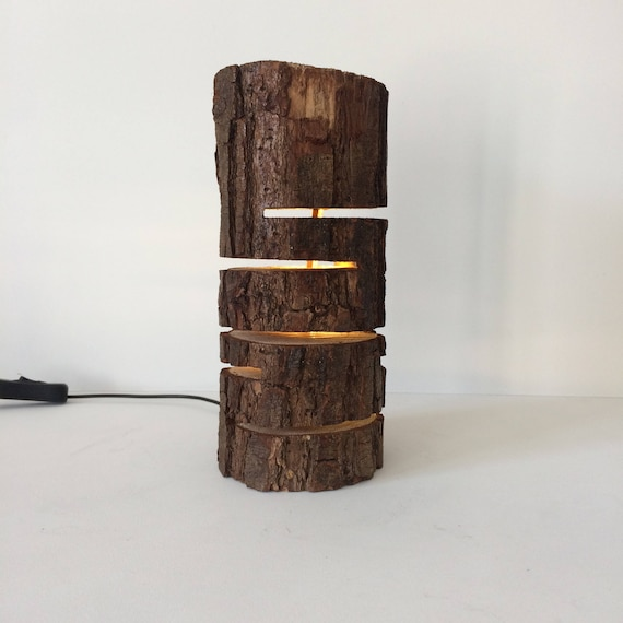 log lamp, log light, log slits, rustic lamp, subtle lighting, accent lamp, upcycled log, wooden log, led lamp, rustic decor,