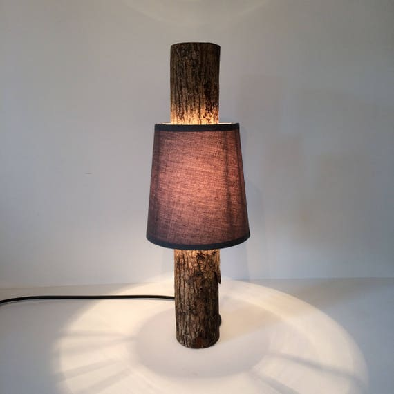 log lamp, log light, rustic table lamp, wooden lamp, bedroom lamp, bedside lamp, rustic lighting, woodland lamp, rustic wood, grey lampshade