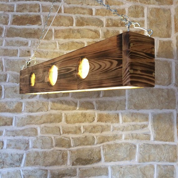 Wood Lighting Fixtures: Long Ceiling Light Light Pendant Wooden Light Fixture Wood