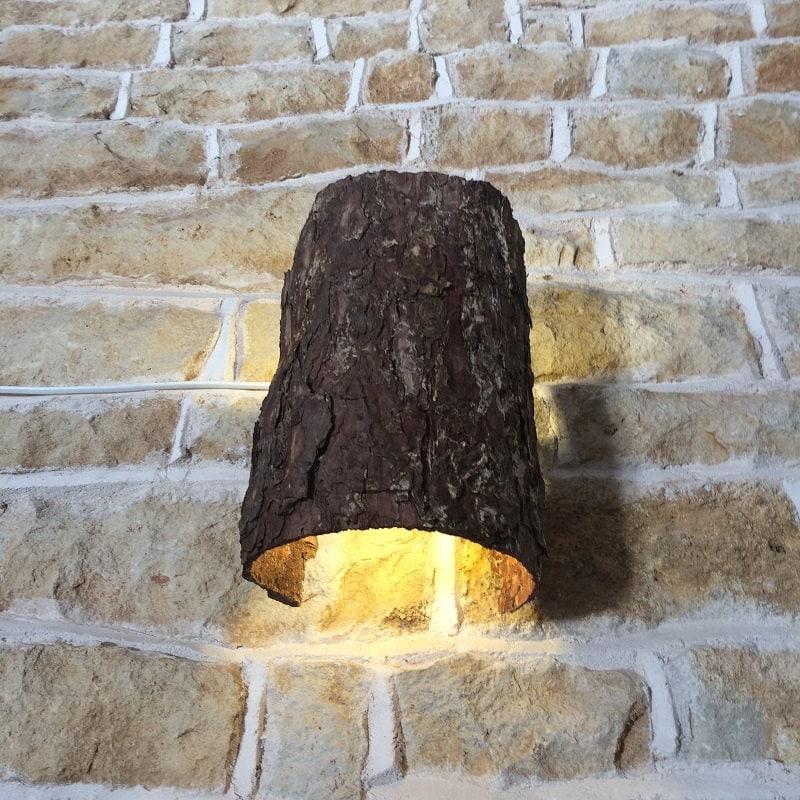 Rustic wall light up down lighter wall fixture light fitting tree rustic wall light up down lighter wall fixture light fitting tree bark natural nature woodland log light lamp sconce aloadofball Choice Image