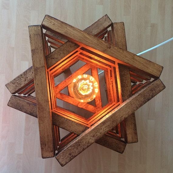 Rustic Floor Lamp Rustic Light Wood Oak Star Shape Handmade Light Rustic Lighting