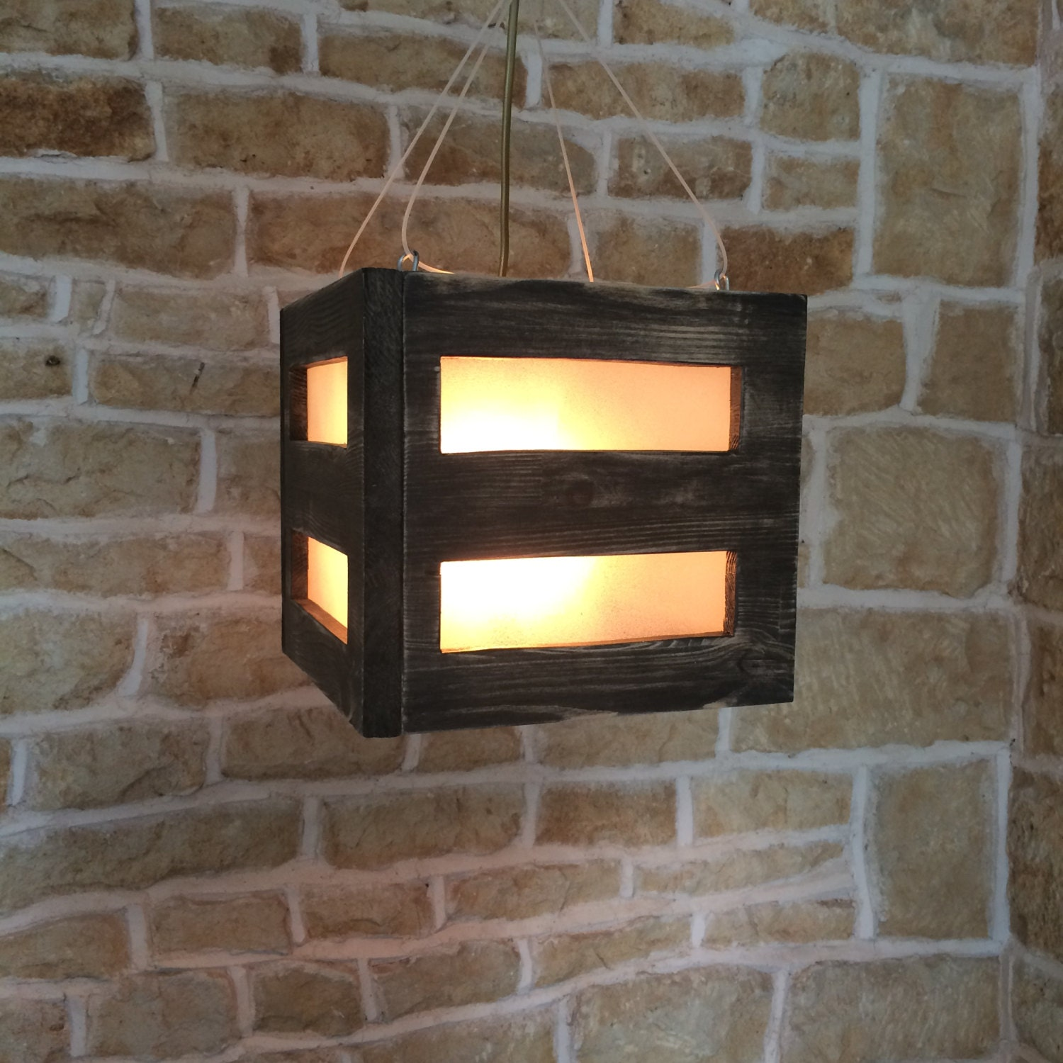 Unusual Rustic Wood Frosted Glass Square Cube Hanging ...
