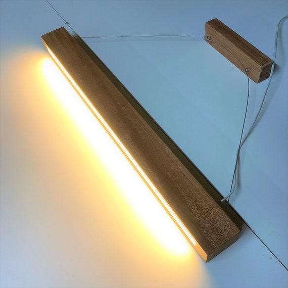 wooden ceiling light, modern light, minimalist light, table lighting, suspended light, office light, long ceiling light, narrow wood light,