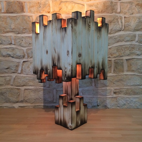 unusual table lamp, wooden lamp, desk lamp, floor lamp, abstract lighting, unusual lamp, table lamp, feature lamp, eclectic lamp, burnt wood