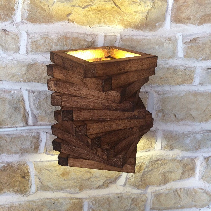Rustic Wood Spiral Wall Light Sconce on Wood Wall Sconces Decorative Lighting id=77054