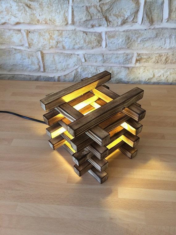 modern table lamp, wooden table lamp, desk lamp, abstract lamp, burnt wood, housewarming gift, office desk gift, teacher gift