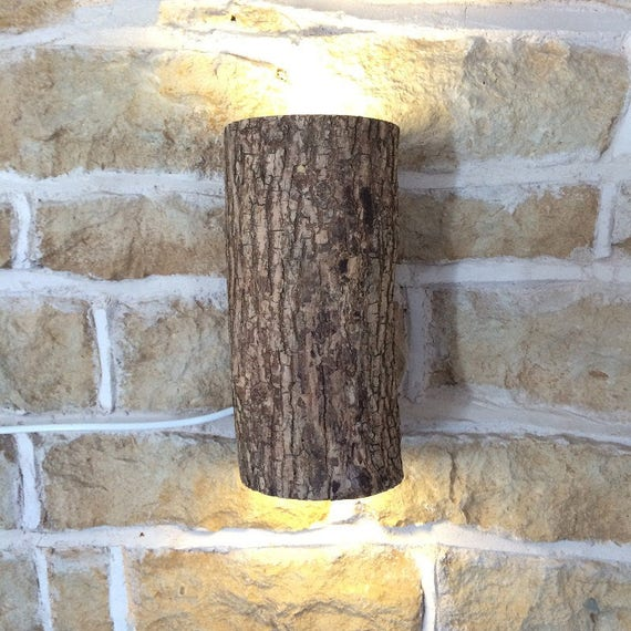 unique light, unusual sconce, rustic lighting, home bar sconce, home bar light, wall light, wood sconce, log light, man cave light,