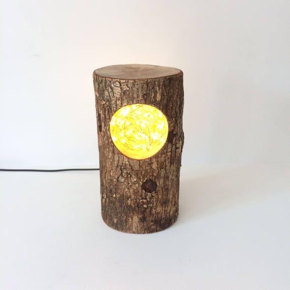 log lamp, log light, rustic lamp, rustic lantern, desk lamp, rustic desk lamp, rustic home, birds nest, gift for home, house warming gift