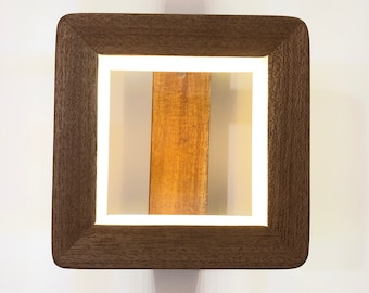 Solid Wood Square Led Wall Light