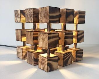 Unusual Wooden Table Lamp Square Cube Molecular Molecule Desk Light Burnt Wood Abstract Designer Handmade Feature