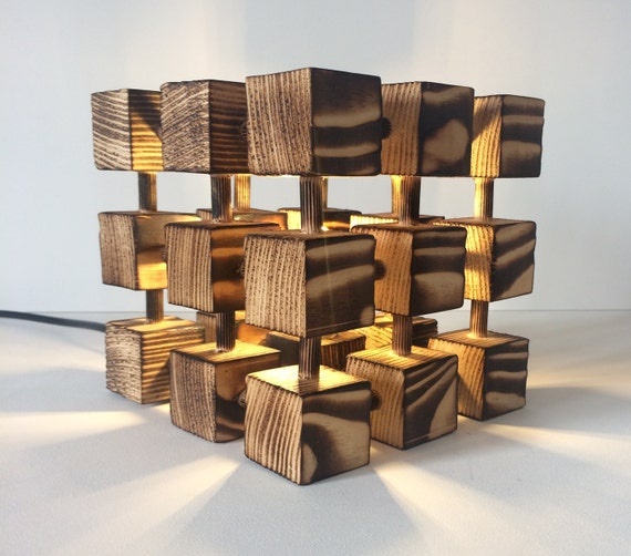 Unusual Wooden Table Lamp Square Cube Molecular Molecule Desk Light Burnt Wood Abstract Designer Handmade Feature