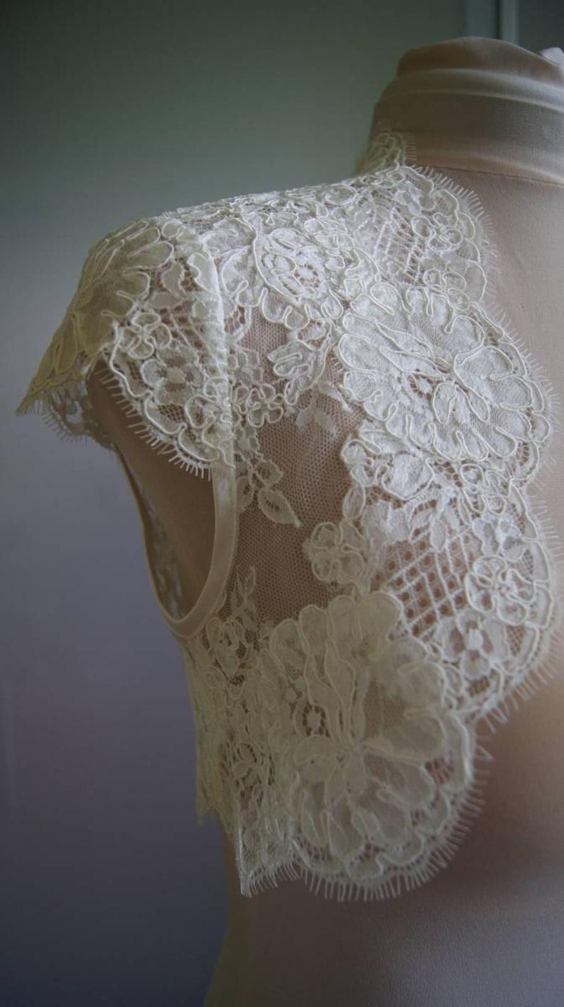 jacket of lace alencon short sleeves Exclusive Romantic bolero SOPHIE top Wedding bolero Unique