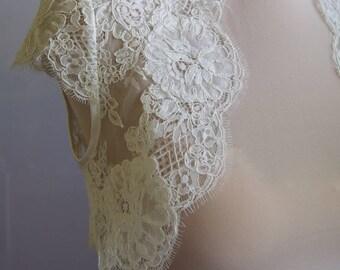 Wedding bolero, top, jacket of lace,alencon, short sleeves, ivory . Unique, Exclusive Romantic bolero SOPHIE