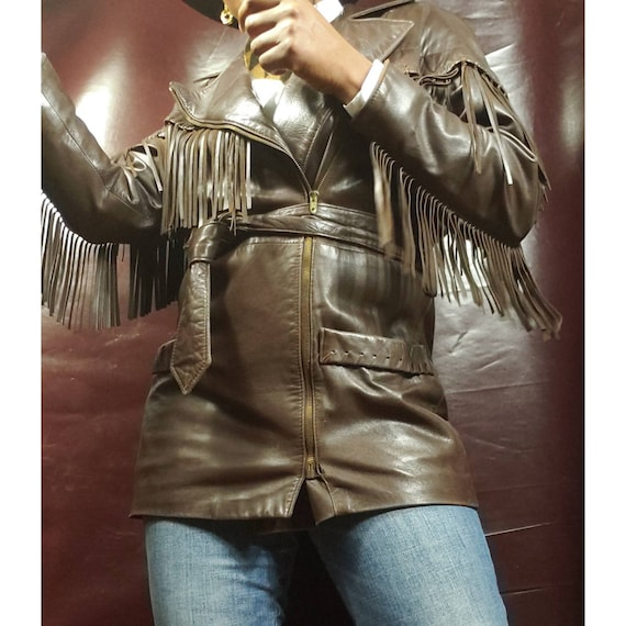 Womens Vintage Brown Leather Jackets, Vakko Saks F